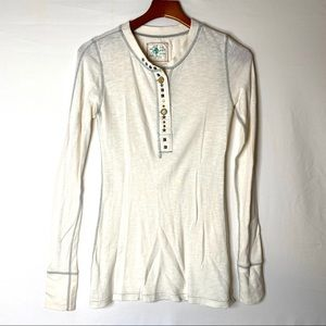 Free people cream Henley embellished snaps